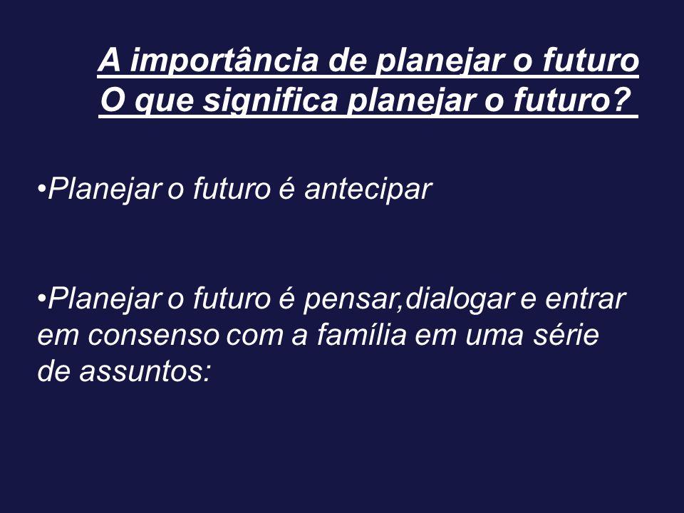 A importância de planejar o futuro O que significa planejar o futuro? Planejar o futuro é antecipar Planejar o futuro é pensar,dialogar e entrar em co