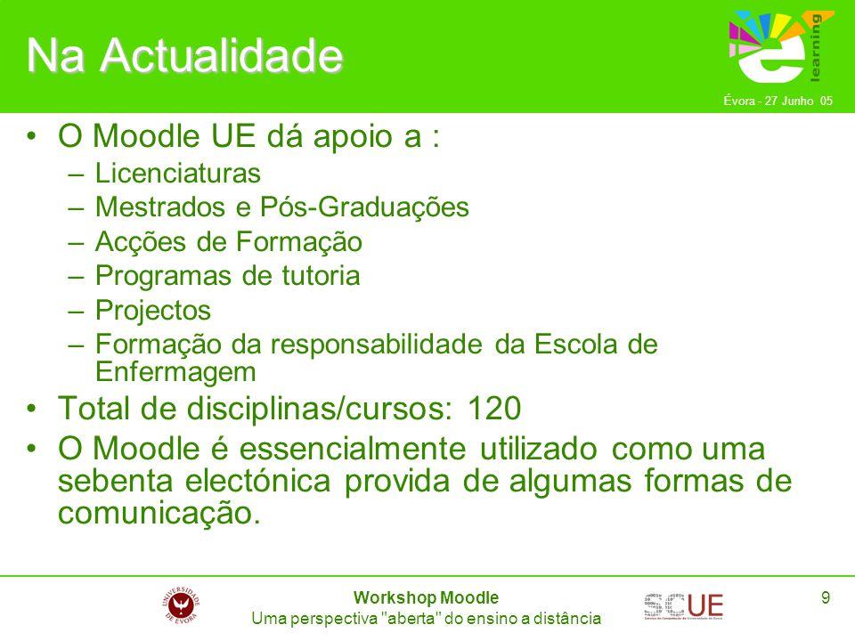 Évora - 27 Junho 05 Workshop Moodle Uma perspectiva aberta do ensino a distância 10 Na Actualidade