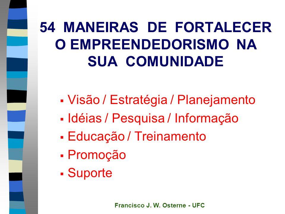54 MANEIRAS DE FORTALECER O EMPREENDEDORISMO NA SUA COMUNIDADE  Visão / Estratégia / Planejamento  Idéias / Pesquisa / Informação  Educação / Treinamento  Promoção  Suporte Francisco J.
