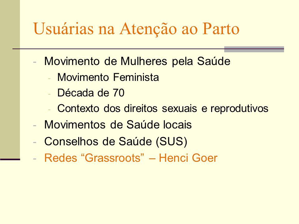 Usuárias na Atenção ao Parto - Movimento de Mulheres pela Saúde - Movimento Feminista - Década de 70 - Contexto dos direitos sexuais e reprodutivos - Movimentos de Saúde locais - Conselhos de Saúde (SUS) - Redes Grassroots – Henci Goer