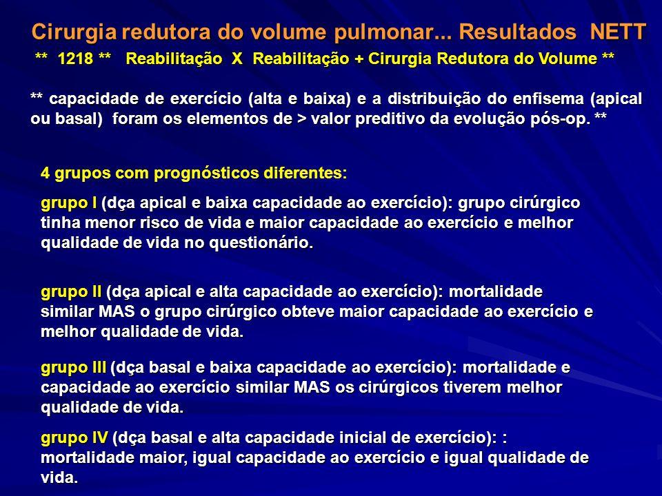 Cirurgia redutora do volume pulmonar... Resultados NETT ** 1218 ** Reabilitação X Reabilitação + Cirurgia Redutora do Volume ** ** capacidade de exerc