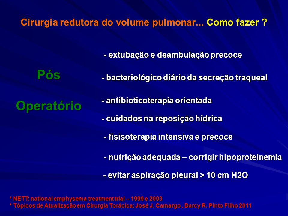 Cirurgia redutora do volume pulmonar... Como fazer ? - bacteriológico diário da secreção traqueal PósOperatório - cuidados na reposição hídrica - anti