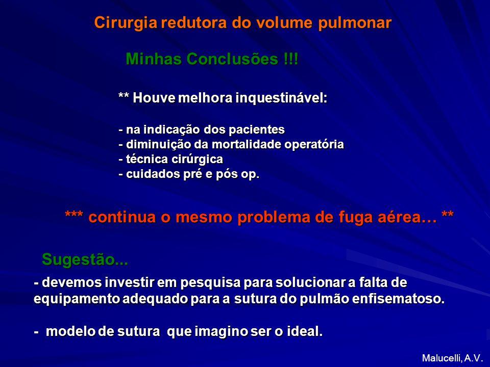 Cirurgia redutora do volume pulmonar *** continua o mesmo problema de fuga aérea… ** Minhas Conclusões !!.