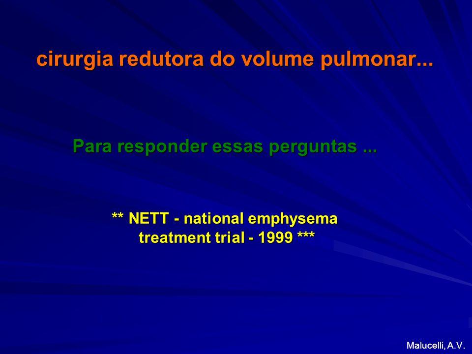 cirurgia redutora do volume pulmonar... Para responder essas perguntas... Malucelli, A.V. ** NETT - national emphysema treatment trial - 1999 *** trea