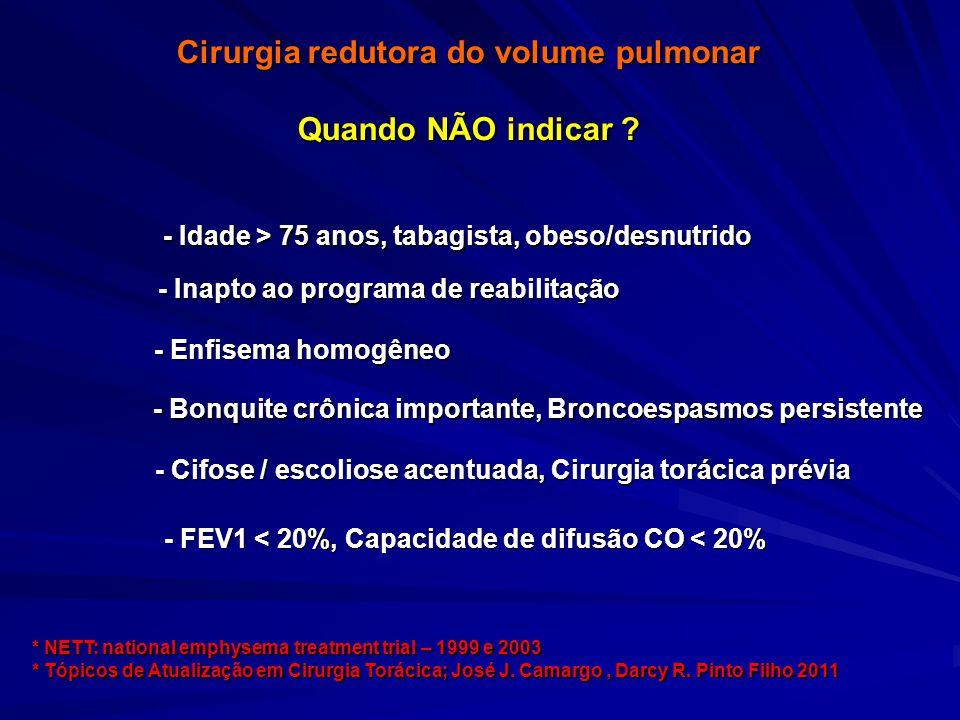Cirurgia redutora do volume pulmonar Quando NÃO indicar ? - Bonquite crônica importante, Broncoespasmos persistente - Cifose / escoliose acentuada, Ci