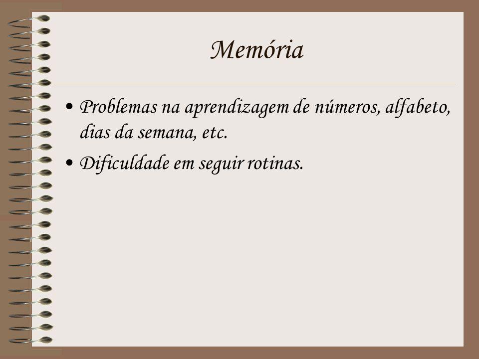 Memória Problemas na aprendizagem de números, alfabeto, dias da semana, etc.