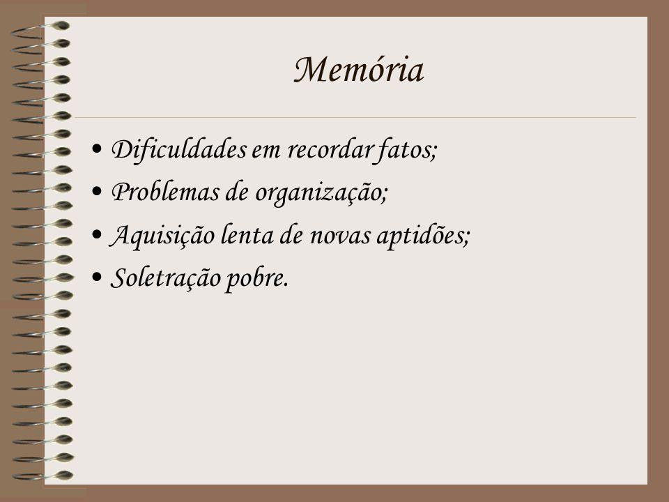 Memória Dificuldades em recordar fatos; Problemas de organização; Aquisição lenta de novas aptidões; Soletração pobre.