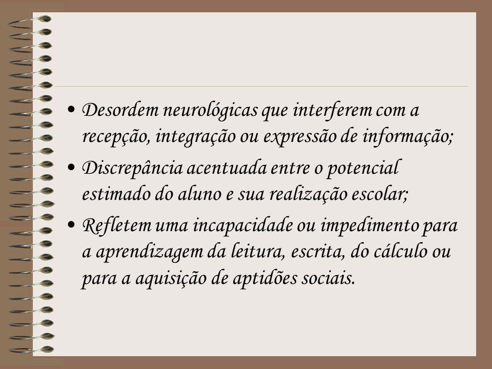 Desordem neurológicas que interferem com a recepção, integração ou expressão de informação; Discrepância acentuada entre o potencial estimado do aluno