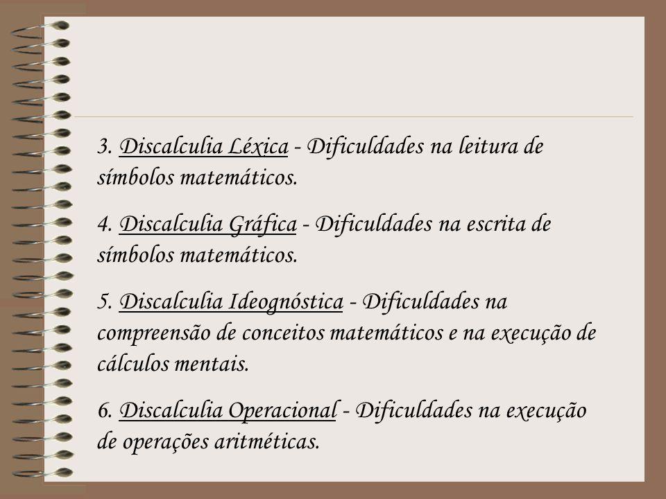 3. Discalculia Léxica - Dificuldades na leitura de símbolos matemáticos. 4. Discalculia Gráfica - Dificuldades na escrita de símbolos matemáticos. 5.