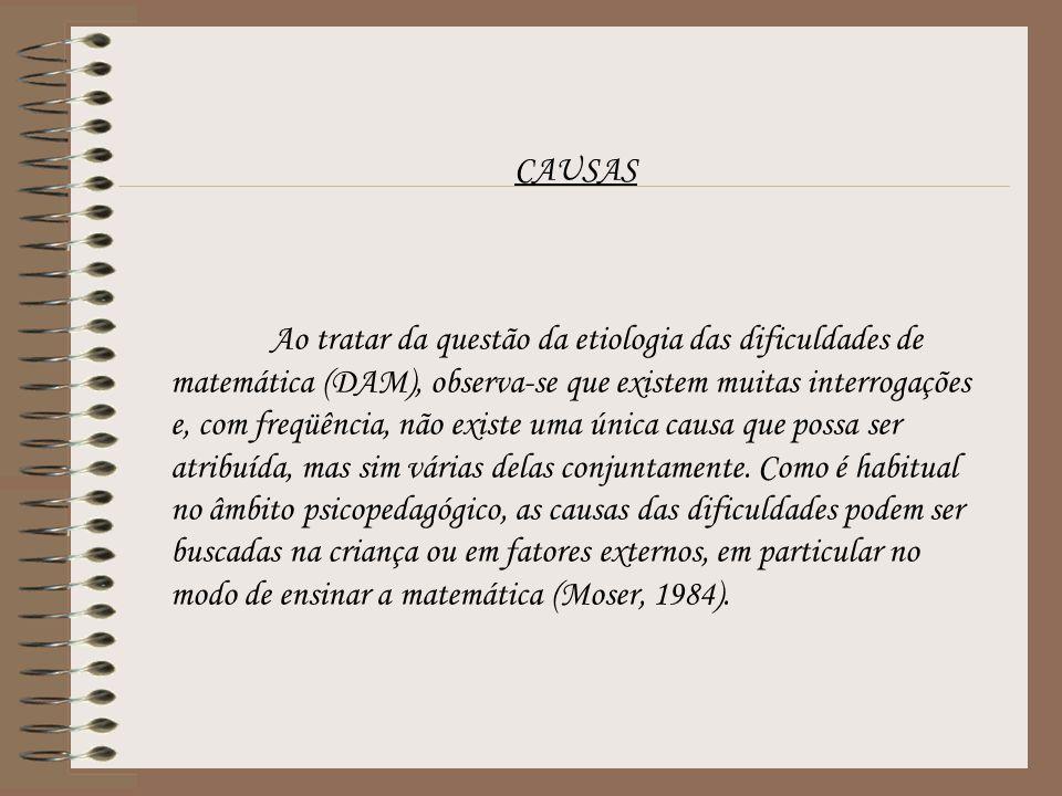 CAUSAS Ao tratar da questão da etiologia das dificuldades de matemática (DAM), observa-se que existem muitas interrogações e, com freqüência, não exis