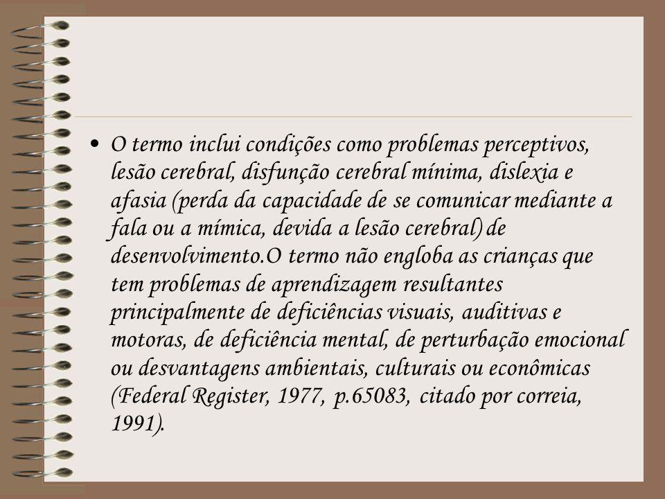 O termo inclui condições como problemas perceptivos, lesão cerebral, disfunção cerebral mínima, dislexia e afasia (perda da capacidade de se comunicar