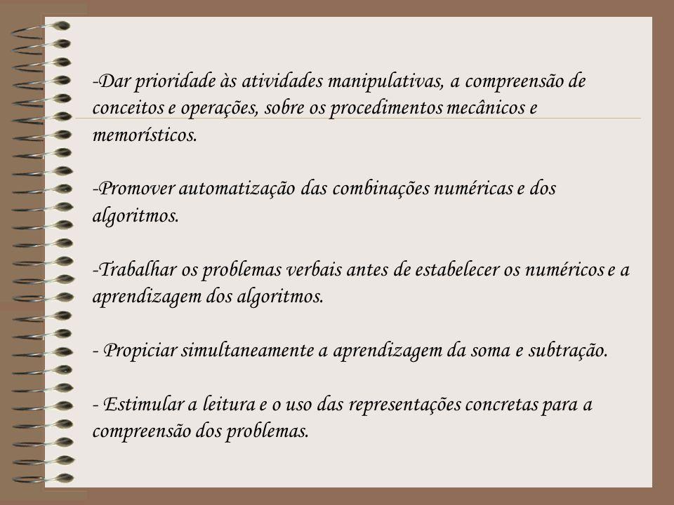 -Dar prioridade às atividades manipulativas, a compreensão de conceitos e operações, sobre os procedimentos mecânicos e memorísticos. -Promover automa