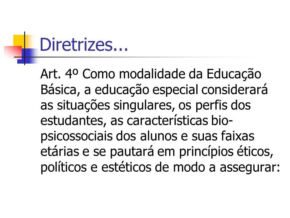 Diretrizes... Art. 4º Como modalidade da Educação Básica, a educação especial considerará as situações singulares, os perfis dos estudantes, as caract