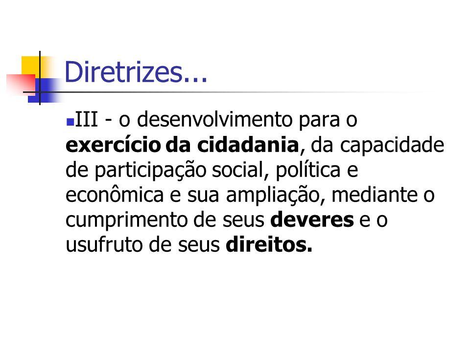 Diretrizes... III - o desenvolvimento para o exercício da cidadania, da capacidade de participação social, política e econômica e sua ampliação, media