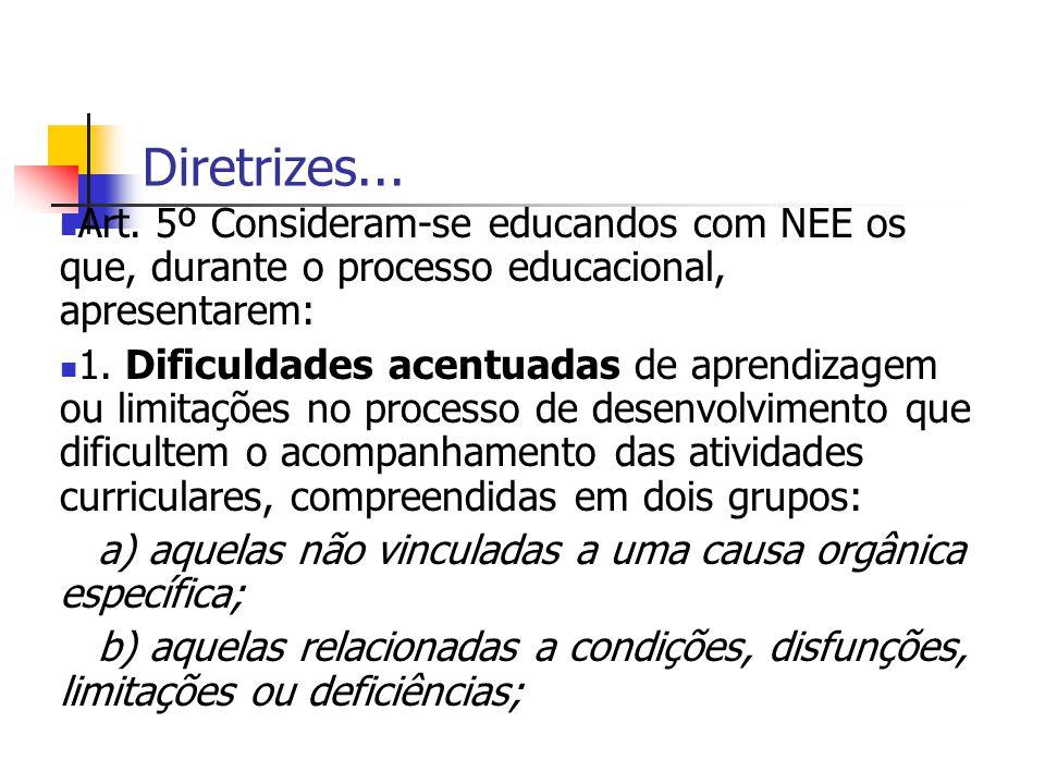 Diretrizes... Art. 5º Consideram-se educandos com NEE os que, durante o processo educacional, apresentarem: 1. Dificuldades acentuadas de aprendizagem