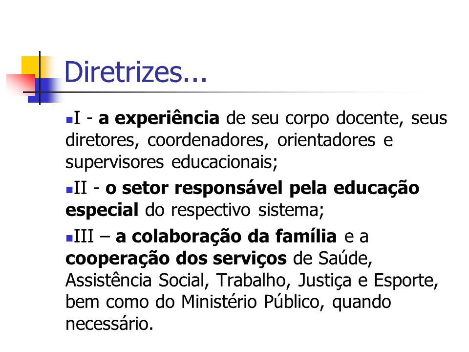 Diretrizes... I - a experiência de seu corpo docente, seus diretores, coordenadores, orientadores e supervisores educacionais; II - o setor responsáve