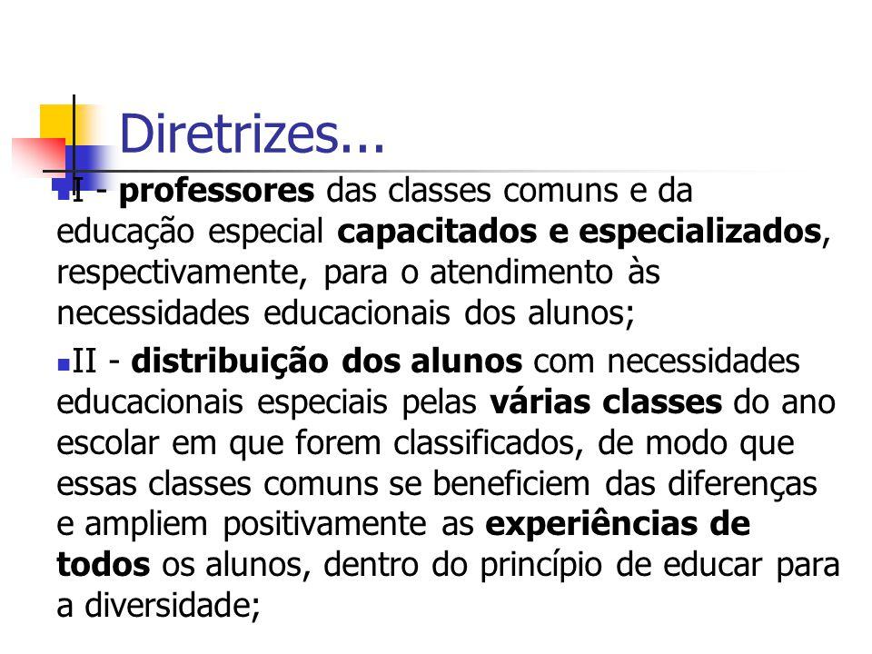 Diretrizes... I - professores das classes comuns e da educação especial capacitados e especializados, respectivamente, para o atendimento às necessida