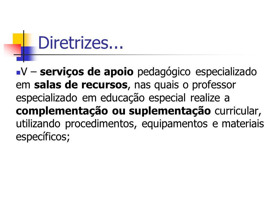 Diretrizes... V – serviços de apoio pedagógico especializado em salas de recursos, nas quais o professor especializado em educação especial realize a