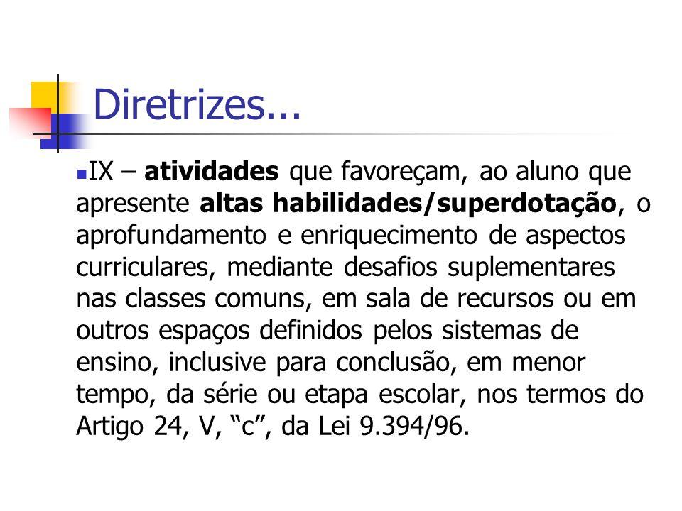 Diretrizes... IX – atividades que favoreçam, ao aluno que apresente altas habilidades/superdotação, o aprofundamento e enriquecimento de aspectos curr