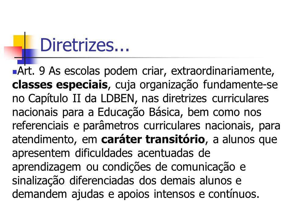 Diretrizes... Art. 9 As escolas podem criar, extraordinariamente, classes especiais, cuja organização fundamente-se no Capítulo II da LDBEN, nas diret