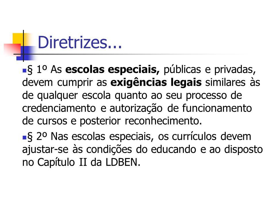 Diretrizes... § 1º As escolas especiais, públicas e privadas, devem cumprir as exigências legais similares às de qualquer escola quanto ao seu process