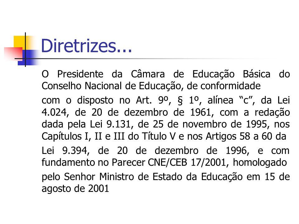 """Diretrizes... O Presidente da Câmara de Educação Básica do Conselho Nacional de Educação, de conformidade com o disposto no Art. 9º, § 1º, alínea """"c"""","""