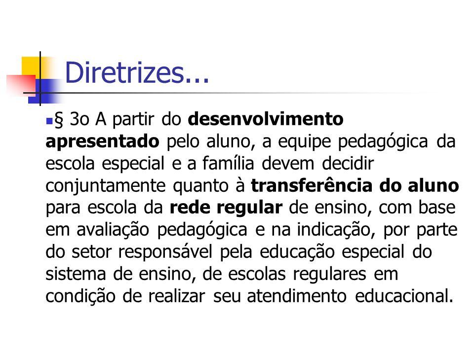 Diretrizes... § 3o A partir do desenvolvimento apresentado pelo aluno, a equipe pedagógica da escola especial e a família devem decidir conjuntamente