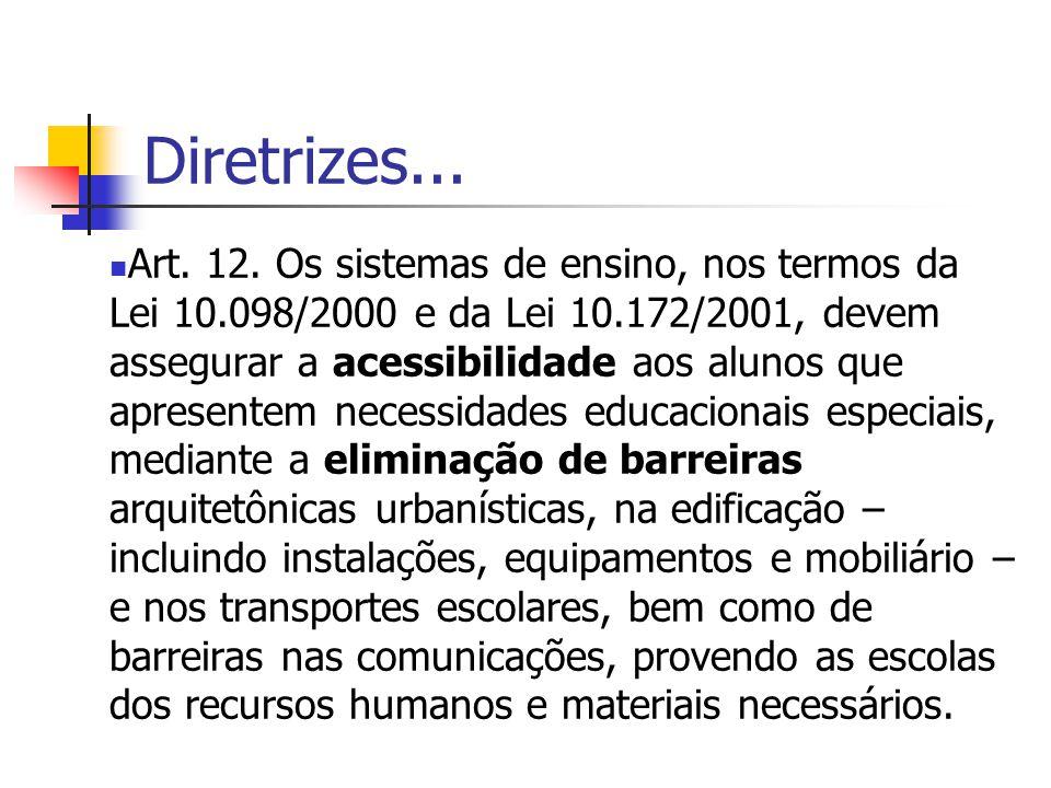Diretrizes... Art. 12. Os sistemas de ensino, nos termos da Lei 10.098/2000 e da Lei 10.172/2001, devem assegurar a acessibilidade aos alunos que apre