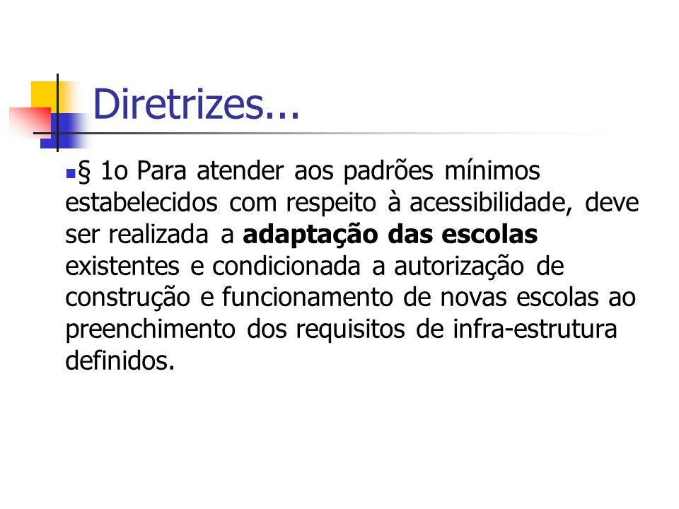 Diretrizes... § 1o Para atender aos padrões mínimos estabelecidos com respeito à acessibilidade, deve ser realizada a adaptação das escolas existentes