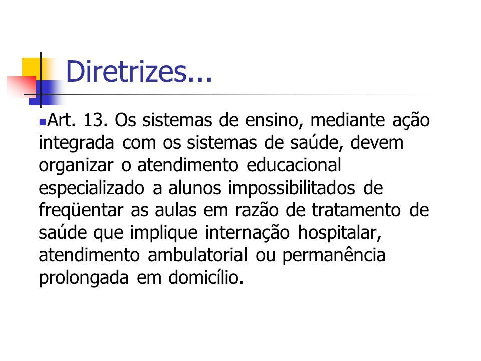 Diretrizes... Art. 13. Os sistemas de ensino, mediante ação integrada com os sistemas de saúde, devem organizar o atendimento educacional especializad