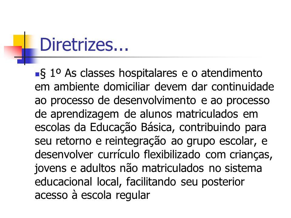 Diretrizes... § 1º As classes hospitalares e o atendimento em ambiente domiciliar devem dar continuidade ao processo de desenvolvimento e ao processo