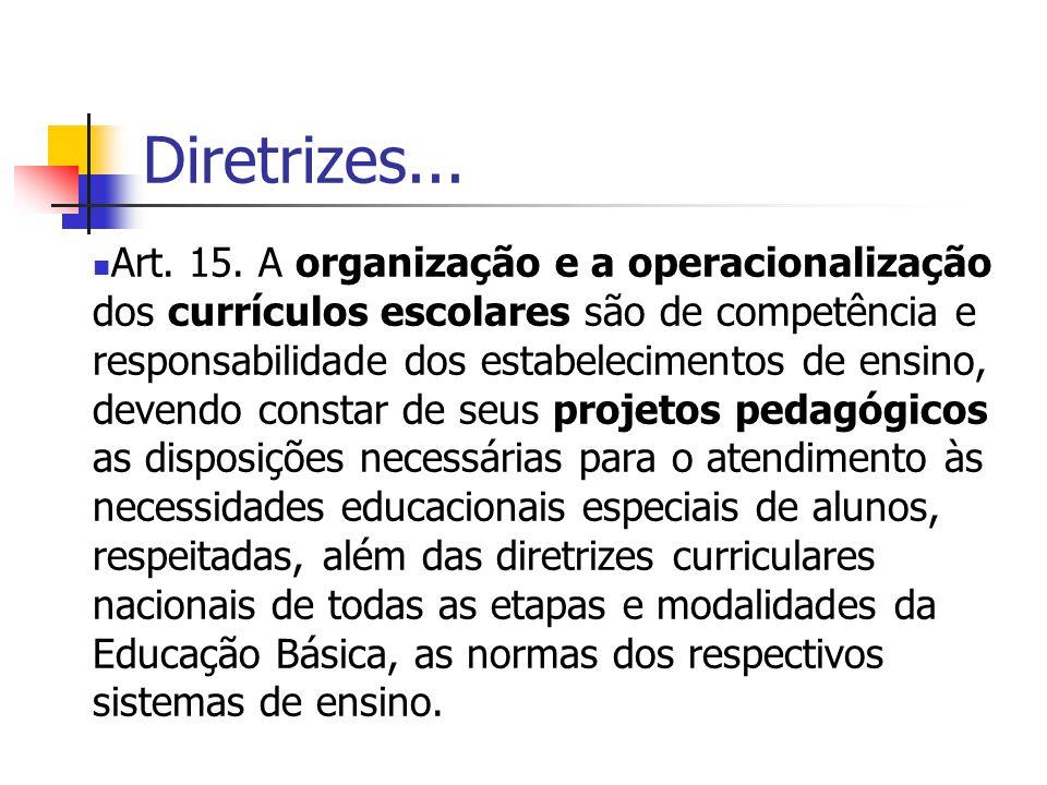Diretrizes... Art. 15. A organização e a operacionalização dos currículos escolares são de competência e responsabilidade dos estabelecimentos de ensi