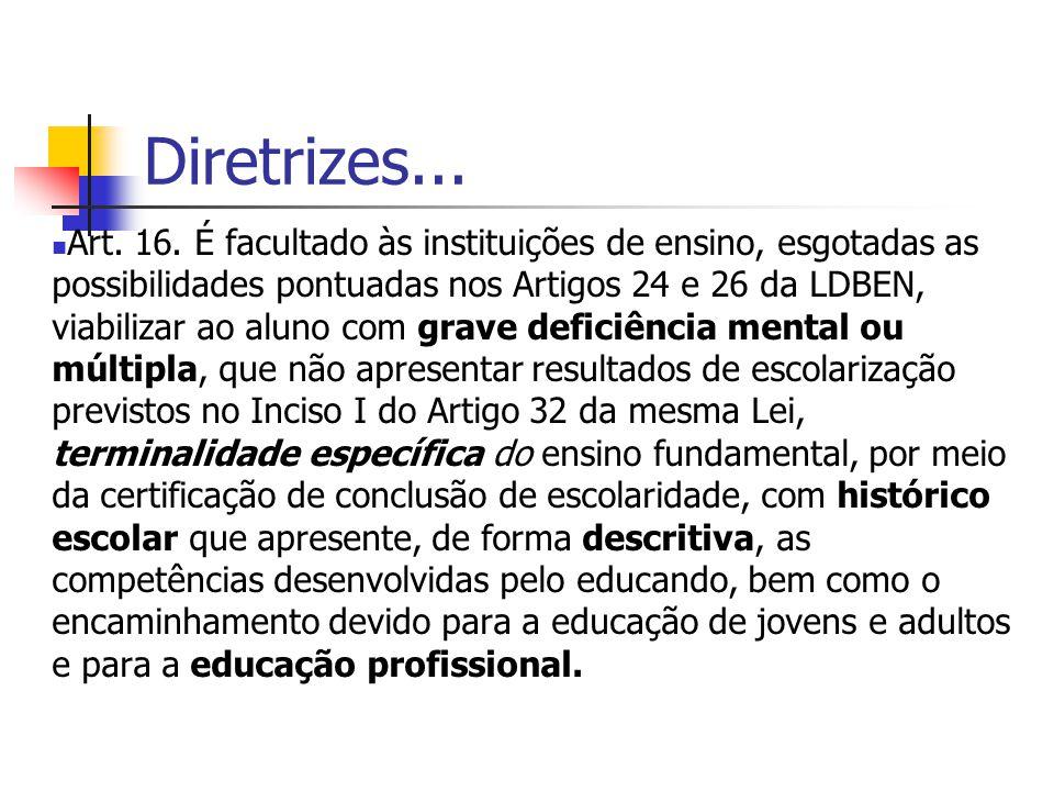 Diretrizes... Art. 16. É facultado às instituições de ensino, esgotadas as possibilidades pontuadas nos Artigos 24 e 26 da LDBEN, viabilizar ao aluno