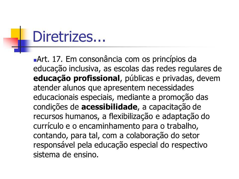 Diretrizes... Art. 17. Em consonância com os princípios da educação inclusiva, as escolas das redes regulares de educação profissional, públicas e pri