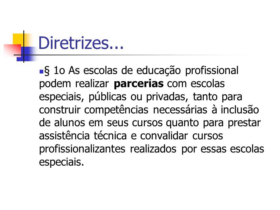 Diretrizes... § 1o As escolas de educação profissional podem realizar parcerias com escolas especiais, públicas ou privadas, tanto para construir comp
