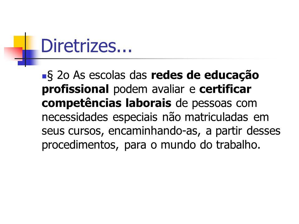 Diretrizes... § 2o As escolas das redes de educação profissional podem avaliar e certificar competências laborais de pessoas com necessidades especiai