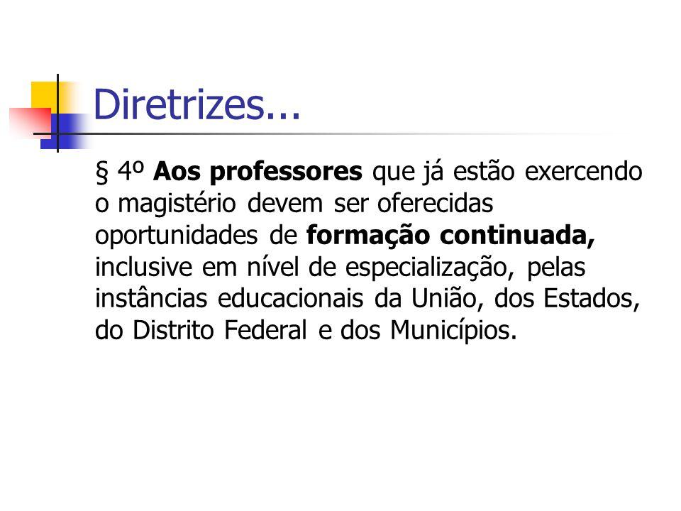 Diretrizes... § 4º Aos professores que já estão exercendo o magistério devem ser oferecidas oportunidades de formação continuada, inclusive em nível d