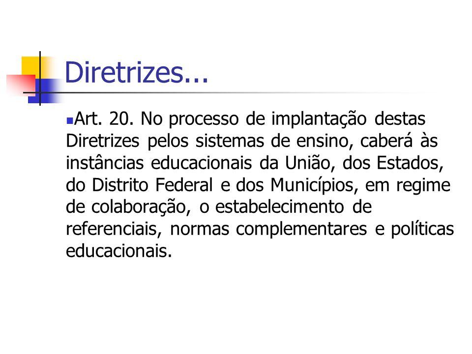 Diretrizes... Art. 20. No processo de implantação destas Diretrizes pelos sistemas de ensino, caberá às instâncias educacionais da União, dos Estados,