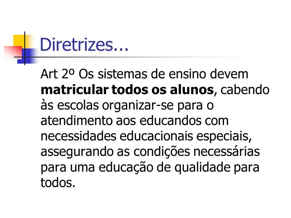 Diretrizes... Art 2º Os sistemas de ensino devem matricular todos os alunos, cabendo às escolas organizar-se para o atendimento aos educandos com nece