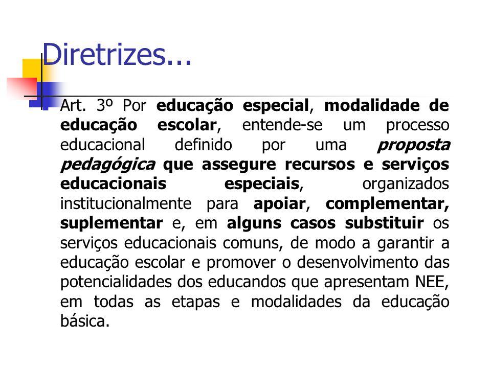 Diretrizes... Art. 3º Por educação especial, modalidade de educação escolar, entende-se um processo educacional definido por uma proposta pedagógica q