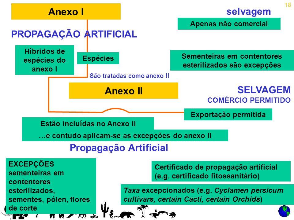 18 selvagem PROPAGAÇÃO ARTIFICIAL Espécies SELVAGEM COMÉRCIO PERMITIDO São tratadas como anexo II Propagação Artificial Anexo I Sementeiras em contentores esterilizados são excepções Apenas não comercial Híbridos de espécies do anexo I …e contudo aplicam-se as excepções do anexo II Certificado de propagação artificial (e.g.