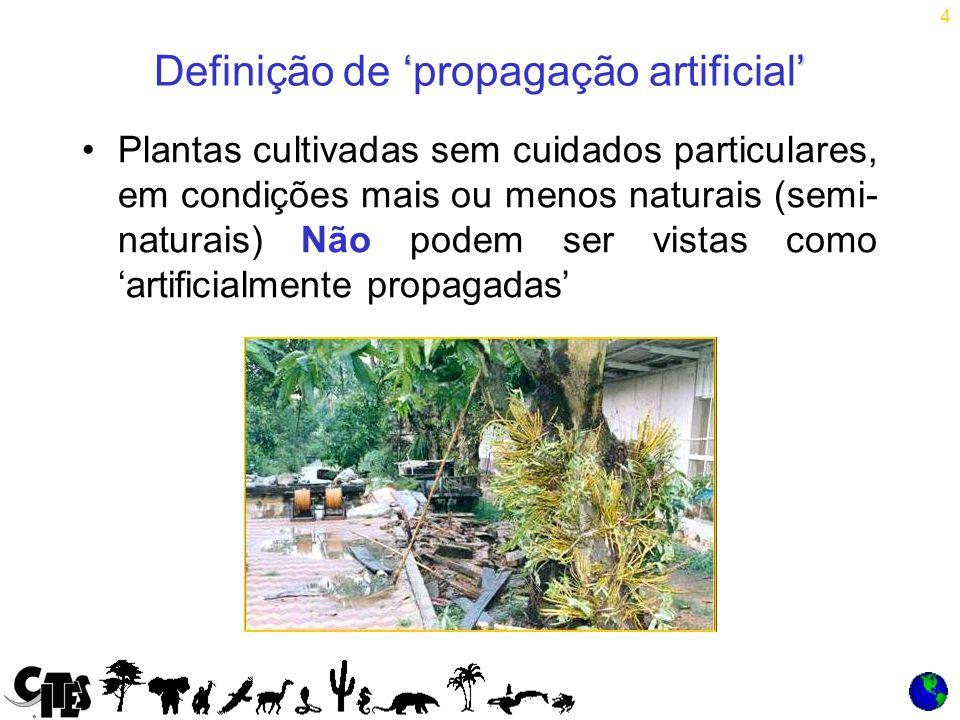 4 Plantas cultivadas sem cuidados particulares, em condições mais ou menos naturais (semi- naturais) Não podem ser vistas como 'artificialmente propagadas' '' Definição de 'propagação artificial'