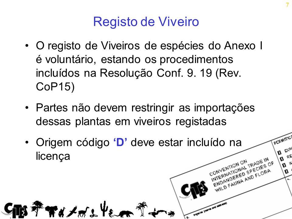 7 Registo de Viveiro O registo de Viveiros de espécies do Anexo I é voluntário, estando os procedimentos incluídos na Resolução Conf.