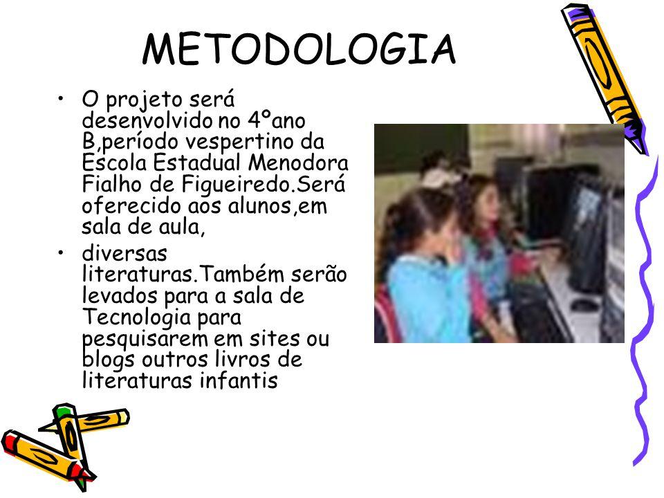 METODOLOGIA O projeto será desenvolvido no 4ºano B,período vespertino da Escola Estadual Menodora Fialho de Figueiredo.Será oferecido aos alunos,em sa