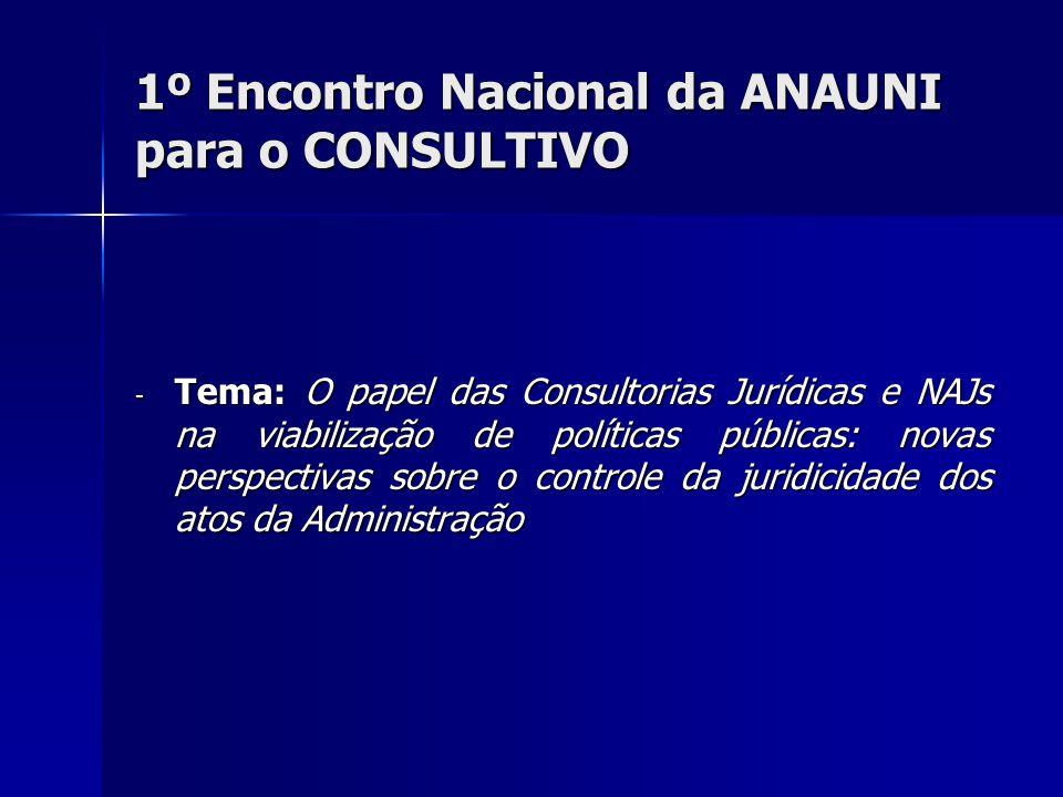 1º Encontro Nacional da ANAUNI para o CONSULTIVO - Tema: O papel das Consultorias Jurídicas e NAJs na viabilização de políticas públicas: novas perspectivas sobre o controle da juridicidade dos atos da Administração