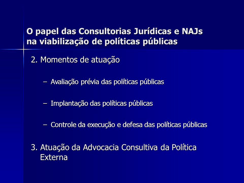 O papel das Consultorias Jurídicas e NAJs na viabilização de políticas públicas 2.1 Avaliação prévia das políticas públicas Acompanhamento na elaboração da política pública setorial Acompanhamento na elaboração da política pública setorial –Participação em oficinas, reuniões, grupos de trabalho.