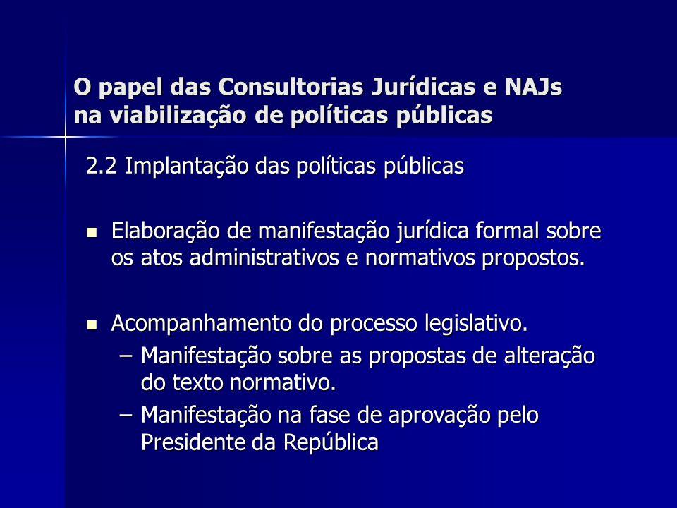 O papel das Consultorias Jurídicas e NAJs na viabilização de políticas públicas 2.2 Implantação das políticas públicas Elaboração de manifestação jurídica formal sobre os atos administrativos e normativos propostos.