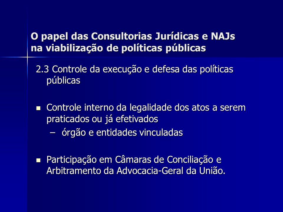 O papel das Consultorias Jurídicas e NAJs na viabilização de políticas públicas 2.3 Controle da execução e defesa das políticas públicas Acompanhamento dos processos junto ao Tribunal de Contas da União e ao Poder Judiciário.