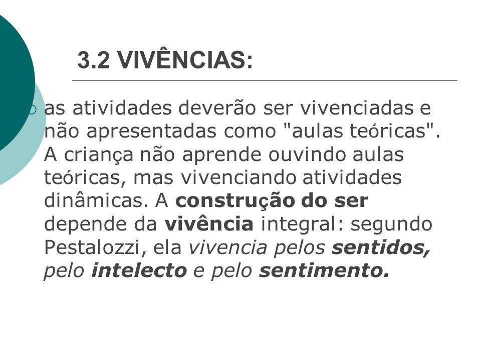 3.2 VIVÊNCIAS:  as atividades deverão ser vivenciadas e não apresentadas como aulas te ó ricas .