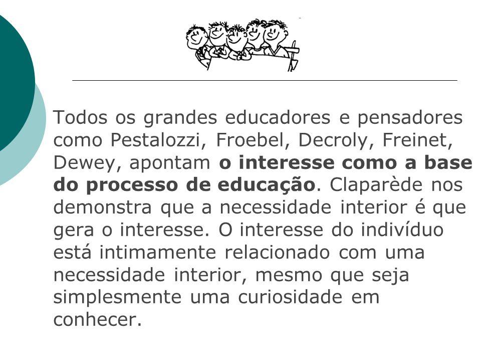 Todos os grandes educadores e pensadores como Pestalozzi, Froebel, Decroly, Freinet, Dewey, apontam o interesse como a base do processo de educação.
